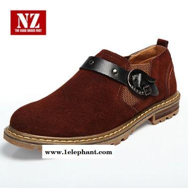 流行男鞋休闲鞋套脚韩版时尚潮流增高小皮鞋磨砂透气搭扣N266
