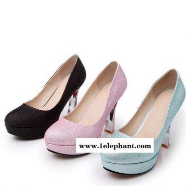 2015春季爆款主打单鞋**PU圆头女鞋套脚异型跟粗高跟