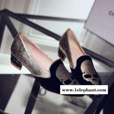 2015春季新款单鞋套鞋粗跟女士鞋舒适透气学院风潮li韩国女
