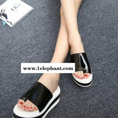 2015夏季新款高跟坡跟防水台韩版女拖鞋套趾凉拖鞋厚底松糕凉