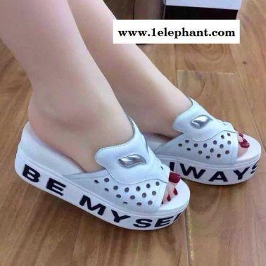 2015夏季新款真皮松糕厚底坡跟女鞋凉鞋套趾高跟鞋