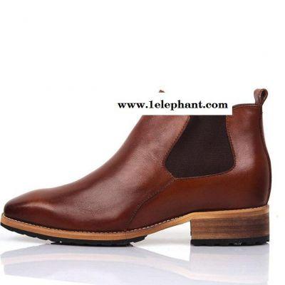 真皮男士短靴高帮男靴英伦尖头商务皮鞋套脚内增高8厘米男单靴子