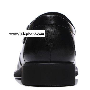 古奇天伦2014秋季新款圆头平跟商务休闲皮鞋套脚低帮正装男鞋