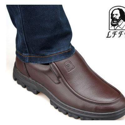 英国老人头2015新款男单鞋套脚36码系带44码软皮圆头软底