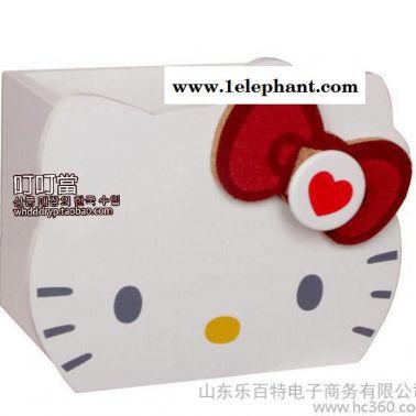 Hello Kitty凯蒂猫礼物 现货猫头木质笔筒 收纳筒 收纳盒 白色