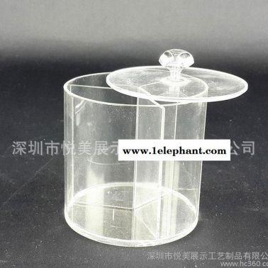 全透明亚克力圆形棉签盒 有机玻璃棉签盒饰品收纳盒 方形糖果盒