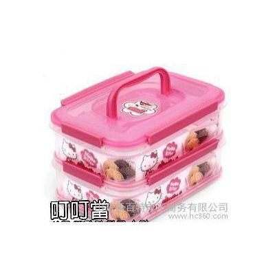 韩国Hello KITTY凯蒂猫儿童饭盒便当食物盒野餐收纳盒双层 KT823