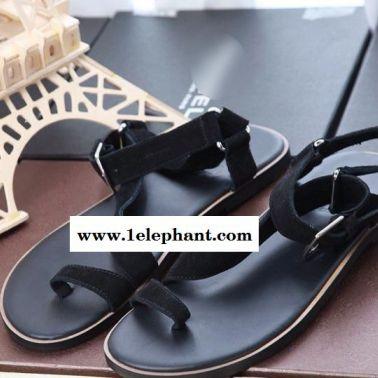 广州欧美套趾拖鞋磨砂真皮牛皮耐磨防滑拖鞋男鞋代理