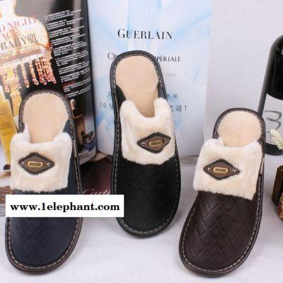 2014年新款款海宁皮拖鞋家居皮拖鞋室内皮拖皮革棉拖鞋70344