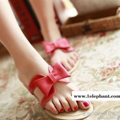 女鞋工厂 代理 甜美蝴蝶结平跟套趾凉拖鞋 平底舒适拖鞋