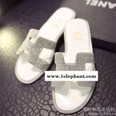 新款H字平底拖鞋女外穿女鞋凉拖鞋时尚可爱韩国夏季平跟水钻拖鞋