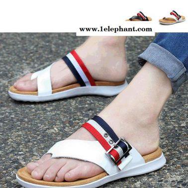 夏季新款男士凉拖鞋男真皮人字拖鞋夹脚沙滩鞋男夹趾凉男拖鞋男鞋