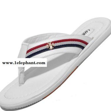 2014年夏季新款真皮男拖鞋时尚潮拖陈冠希拖鞋韩版男凉鞋沙滩