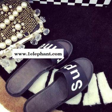 夏新品欧美时尚字母坡跟凉拖鞋松糕鞋厚底鞋拖鞋一字拖女潮