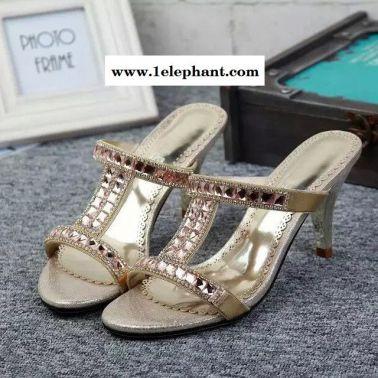 夏季拖鞋   2015新款真皮品牌细高跟露趾水砖优雅女拖鞋b
