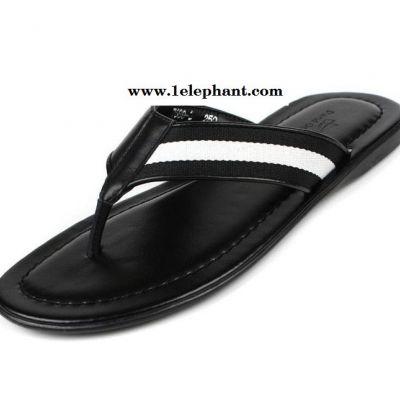 夏季新款真牛皮人字拖鞋男鞋子 夹脚家居潮流英伦白色拖鞋
