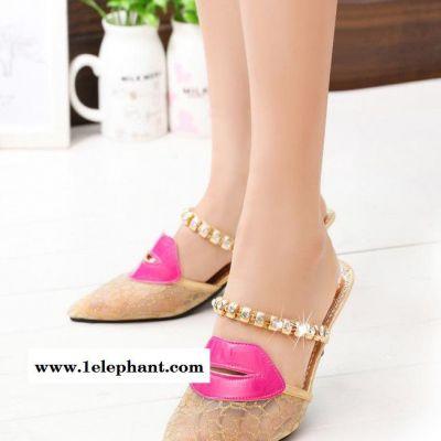 2015夏季新款甜美女式拖鞋中跟细跟鞋水钻性感网纱红唇凉拖鞋