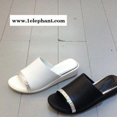 时尚舒适拖鞋   2015新款p2m1真羊皮品牌露趾水钻甜美女拖鞋
