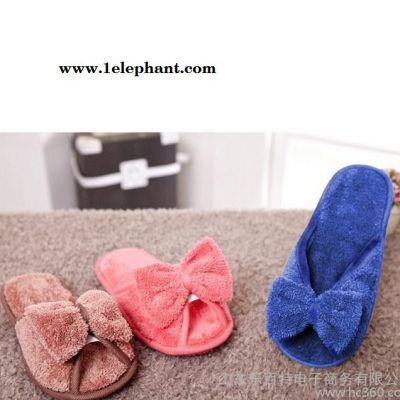 爆款韩国冬季蝴蝶结棉拖鞋可爱女毛毛鞋家居家地板软底拖鞋