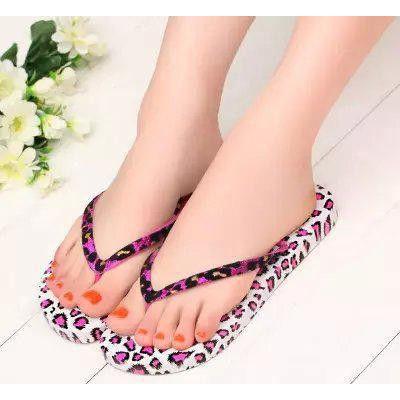 直销2015新款拖鞋女夏季人字拖居家时尚凉拖鞋沙滩豹纹平底夹