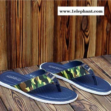 夏季英伦风迷彩人字拖点状按摩底男士拖鞋时尚潮流套脚真皮男拖鞋