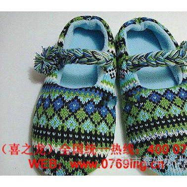 毛线拖鞋,室内地板拖鞋,毛线针织鞋面