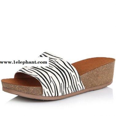 2015夏新款3e336拖鞋中跟厚底坡跟斑马纹休闲女拖鞋现货