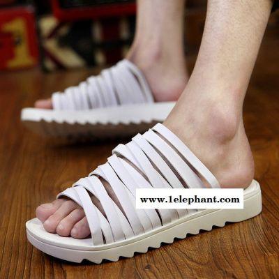 夏季陈冠希潮拖彩虹一字拖鞋 韩版个性沙滩鞋潮男凉拖鞋