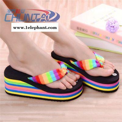 夏季新款彩虹女人字拖厚底防滑家居拖鞋高跟潮流沙滩鞋凉拖鞋