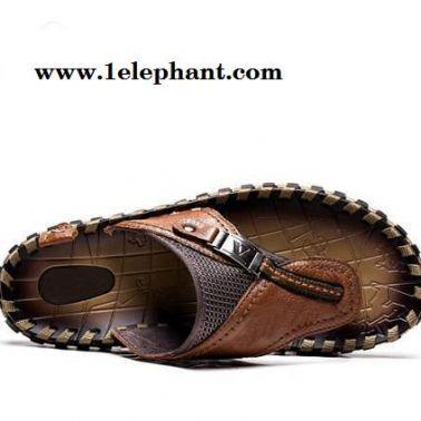 头层小牛皮手工凉拖鞋潮流个性沙滩鞋 男士夏季真皮人字拖鞋