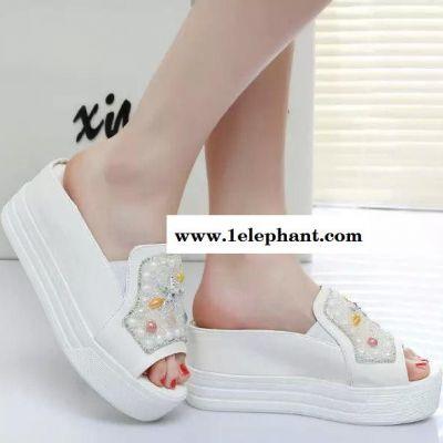 2015春夏季新款松糕拖鞋女水钻坡跟平底凉拖鞋厚底一字拖女士