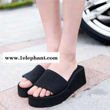 夏季凉拖鞋 沙滩女凉鞋 松紧布简约凉拖鞋子平底沙滩凉鞋
