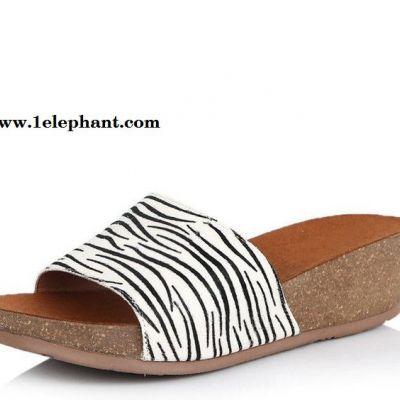 2015夏新款3e336拖鞋中跟厚底坡跟斑马纹休闲女拖鞋现货一件代发
