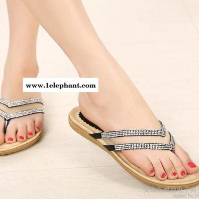 2014夏新款进口水钻人字拖鞋夹趾凉拖时尚休闲平跟低跟女拖鞋