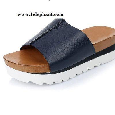 欧美拖鞋 2015夏季新款9vi02松糕跟厚底真皮女凉拖鞋直