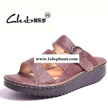 2014夏季新款真皮女士休闲凉拖鞋 厚底外贸皮拖鞋 平底一字