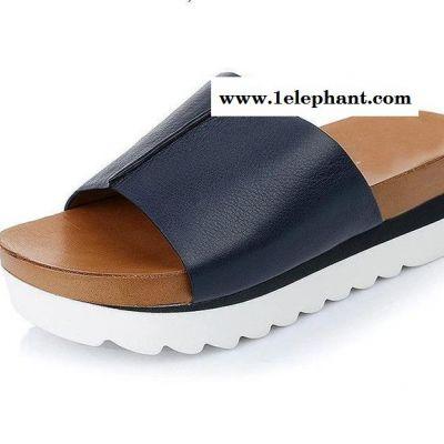 欧美拖鞋 2015夏季新款9vi02松糕跟厚底真皮女凉拖鞋直销