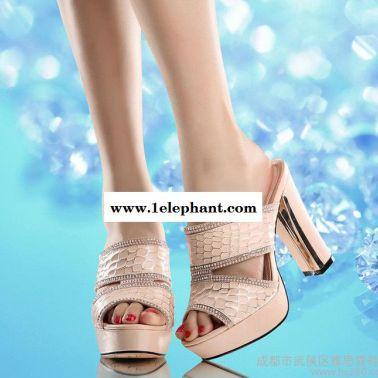 2014夏季新款水钻串珠粗高跟拖鞋