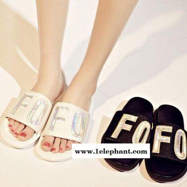 2015夏季欧洲站新款平底一字凉拖鞋外贸女鞋真皮女凉拖鞋一件