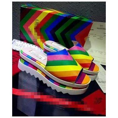 2015夏季新款V彩虹拖鞋真皮松糕跟厚底坡跟防水台拼色女拖鞋