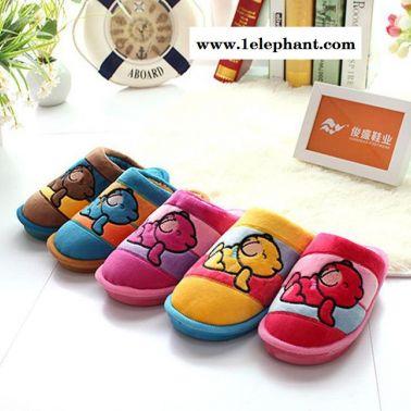拼色卡通坐熊儿童保暖棉拖鞋 中小童男女宝宝防滑居家拖鞋