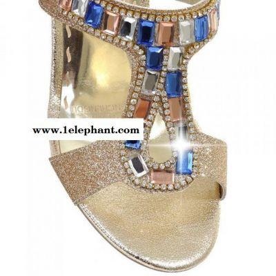 2015夏季新款中跟粗跟露趾拖鞋欧美 时尚水钻女鞋拖鞋代理加