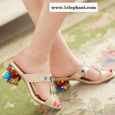 2015大热人气爆款凉拖鞋低奢彩色水晶钻粗跟拖鞋工字形女士凉