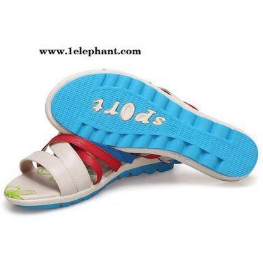 特价拼色交叉绑带条纹坡跟女士凉拖鞋时尚学生凉拖鞋