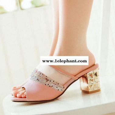 2015夏季韩版女款拖鞋水钻女凉鞋子粗跟女一字凉拖鞋