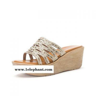 2015夏新款拖鞋2nt49平底高坡跟鱼嘴一字型女凉拖鞋现货