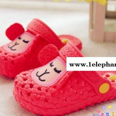 夏季新款纯色卡通儿童凉拖鞋包头耐磨防滑儿童凉拖鞋6-12岁