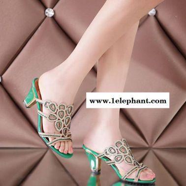 2015新款女拖鞋水钻女凉拖鞋绿色金色性感粗跟舒适女鞋