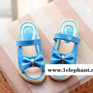 童鞋 2014夏季新款女童凉鞋 半凉鞋蝴蝶机软底休闲拖鞋