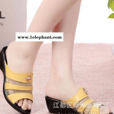 真皮凉鞋夏季新款YD1029加大码平底拖鞋女士凉鞋妈妈鞋